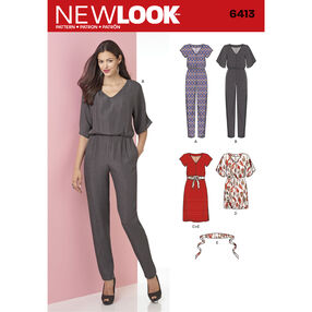 New Look Pattern 6413 Misses' Jumpsuit and Dress in Two Lengths