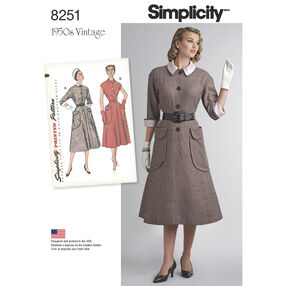 Simplicity Pattern 8251 Misses' Vintage 1950s One-Piece Dresses