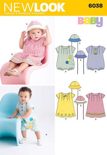 Babies' Dress. Romper & Hat