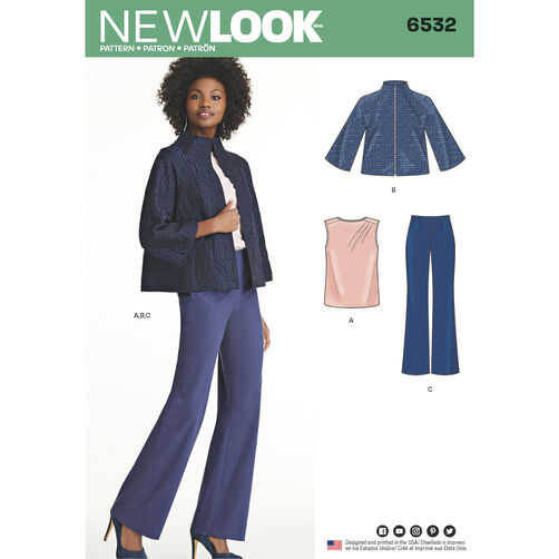 New Look Pattern 6532 Misses' Pants, Top and Jacket