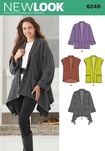 Misses' Jacket with Length Variations & Vest
