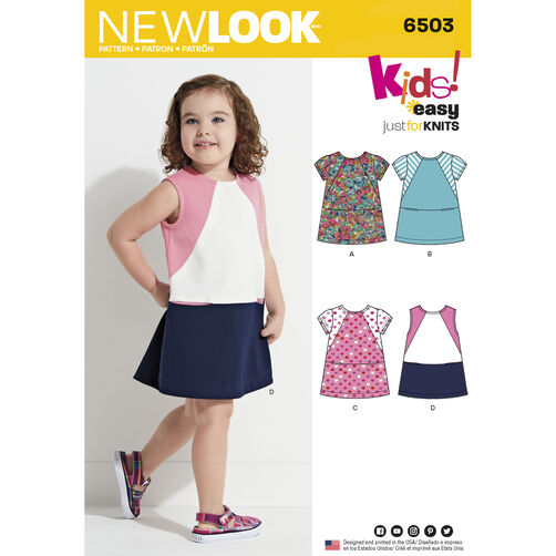 New Look Pattern 6503 Toddlers Knit Dress with Sleeve and Fabric Variations