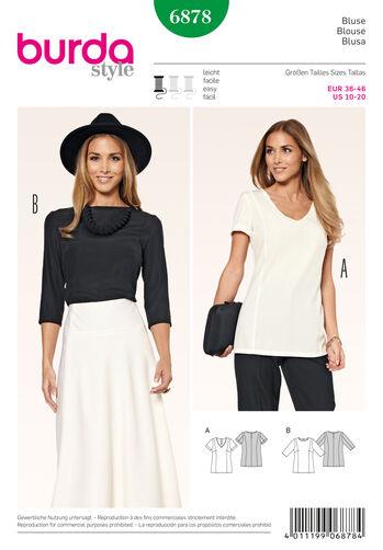 Burda Style Pattern 6878 Tops, Shirts, Blouses
