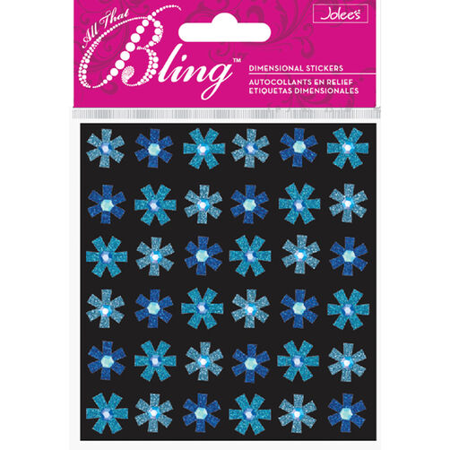 Bling - Blue Mini Flowers Dimensional Stickers_50-20128