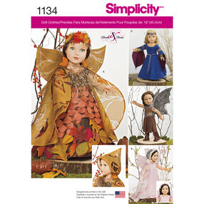 "Simplicity Pattern 1134 Mystical Clothes for 18"" Dolls"
