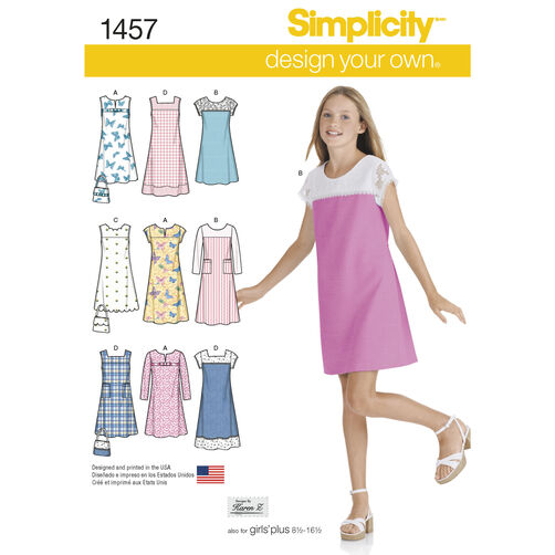 Simplicity Pattern 1457 Girls' & Girls' Plus Pullover Jumper or Dress