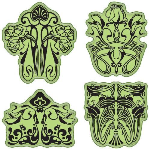Art Nouveau Floral Cling Stamps_65-32079