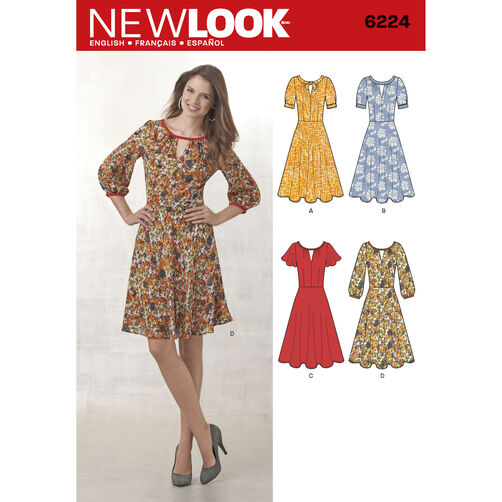 New Look Pattern 6224 Misses' Dress with Sleeve Variations