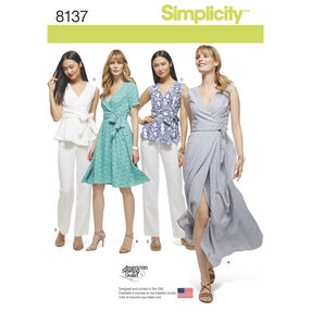 Simplicity Pattern 8137 Misses' and Plus Size Wrap Dresses, Top, and Pants