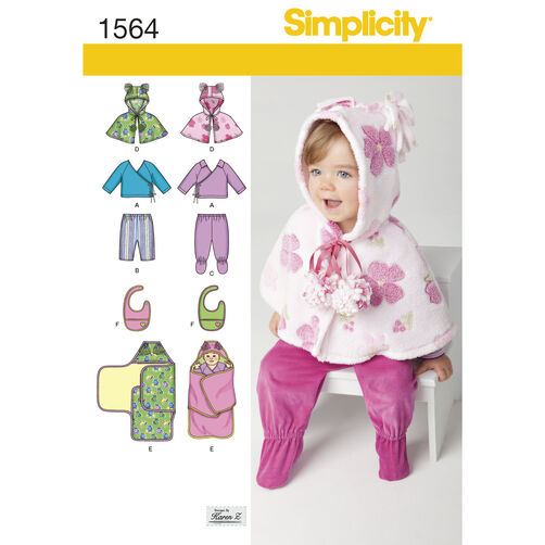 Simplicity Pattern 1564 Babies' Top, Pants, Bib, and Blanket Wrap