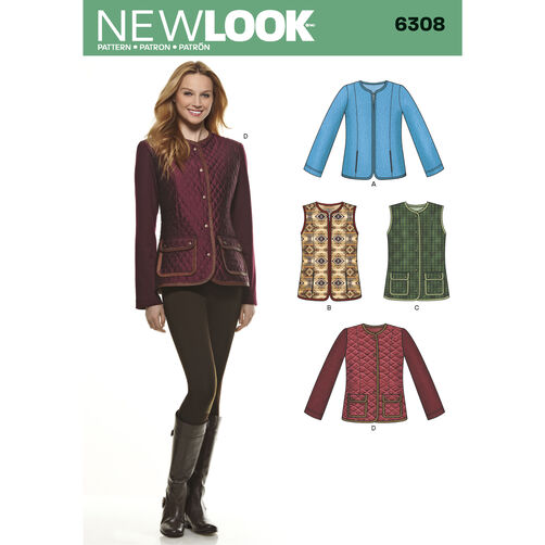 New Look Pattern 6308 Misses' Jackets or Vests