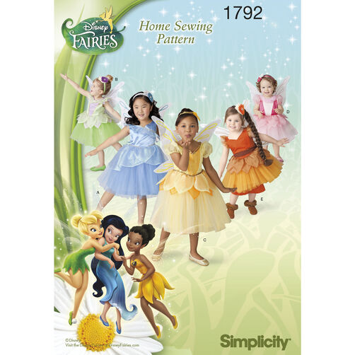 Simplicity Pattern 1792 Disney Fairies Costumes for Toddlers & Children