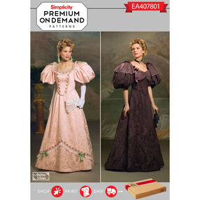 Simplicity Pattern EA407801 Premium Print on Demand Misses' Victorian Dress