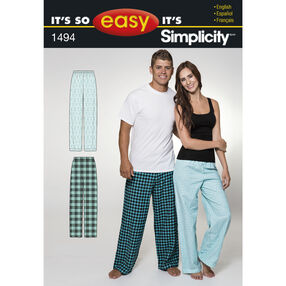 It's So Easy Pattern 1494 Women's and Men's Pants