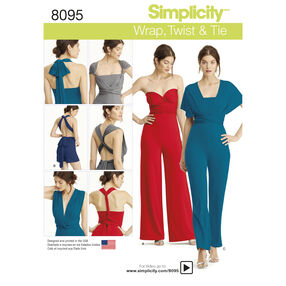Simplicity Pattern 8095 Misses' Knit Wrap, Twist and Tie Jumpsuit and Romper