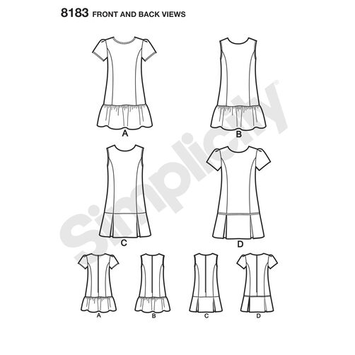 Pattern 8183 Child's and Girls' Dress or Jumper with Skirt