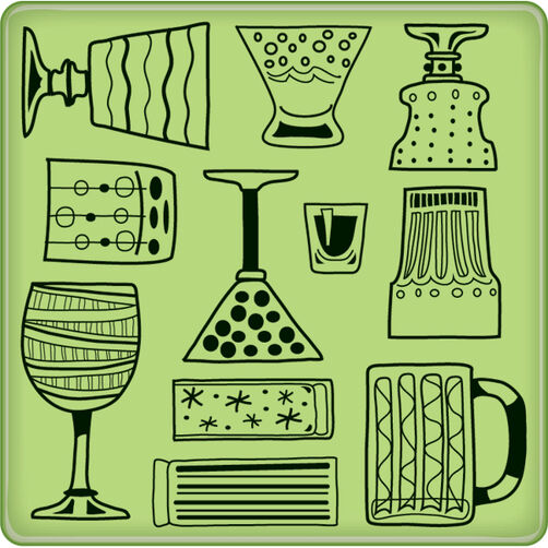 Cocktail Party Pattern Mini Cling Stamp_60-60239