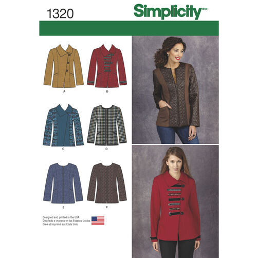 Simplicity Pattern 1320 Misses' Jacket with Front & Fabric Variations