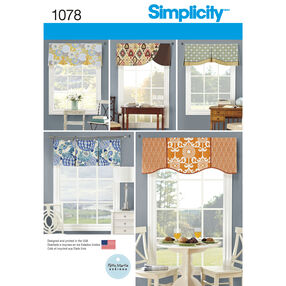 "Simplicity Pattern 1078 Valances for 39-1/2"" Wide Windows"