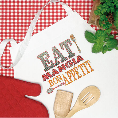 Let's Eat Apron in Stamped Cross Stitch_72-73982