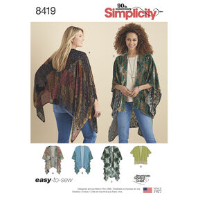 Pattern 8419 Misses' Kimono Style Wrap with Variations