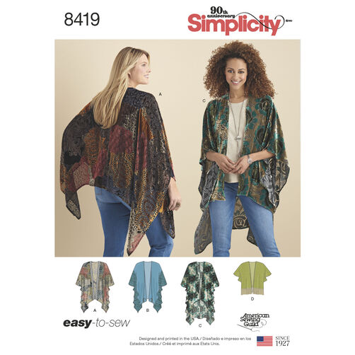 Simplicity Pattern 8419 Misses' Kimono Style Wrap with Variations