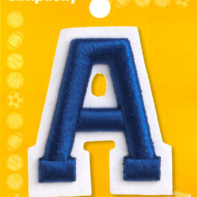 "2"" Raised Embroidery Letter Iron On, Blue"