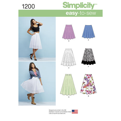 Simplicity Pattern 1200 Misses' 3/4 Circle Skirt with Length Variations