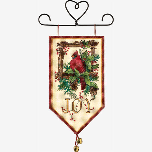 Cardinal Joy Mini Banner, Counted Cross Stitch_08822