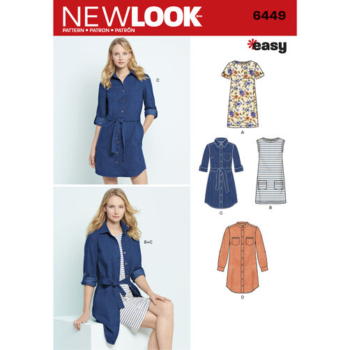 New Look Pattern 6449 Misses' Easy Shirt Dress and Knit Dress
