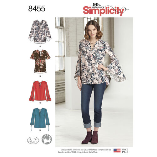 Simplicity Pattern 8455 Misses'/Petite Blouse with Length and Sleeve Variations