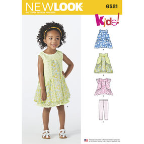New Look Pattern 6521 Toddler Dress, Tunic and Pants