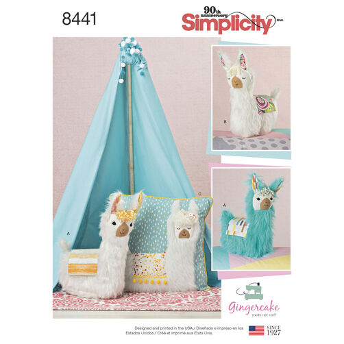 Simplicity Pattern 8441 Stuffed Animals and Pillow