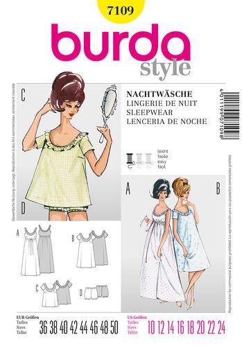 Burda Style Pattern 7109 Sleepwear