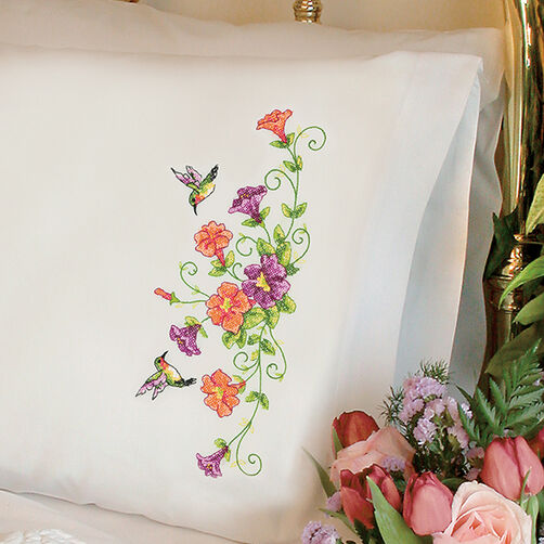 Sweet Hummingbirds Pillow Cases in Stamped Cross Stitch_72-74063