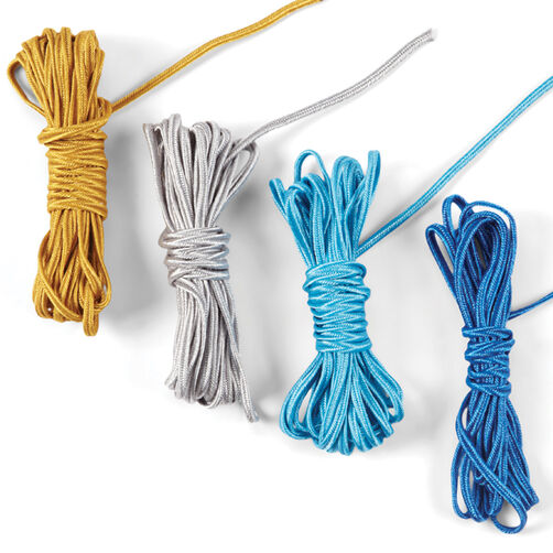 Fabric Cord - Gold+Silver+Blues_50-00429