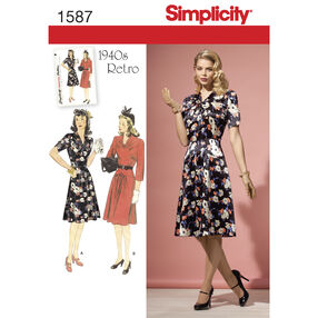 Simplicity Pattern 1587 Misses' & Miss Petite 1940's Vintage Dress