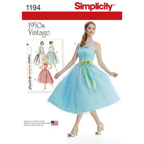 Simplicity Pattern 1194 Misses' and Miss Petite Vintage Dress