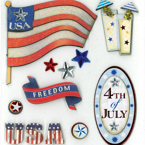 4Th Of July Dimensional Sticker  _30-577510