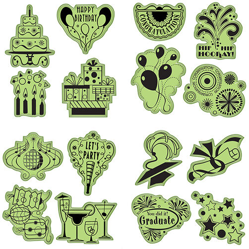 Celebration Fun Cling Stamp 16-Piece Set_65-32070