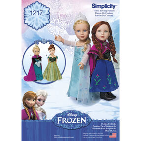 Simplicity Pattern 1217 Frozen Costumes for 18 inch Doll