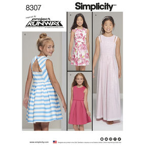 Simplicity Pattern 8307 Girls' and Girl Plus Dress with Bodice and Length Variations