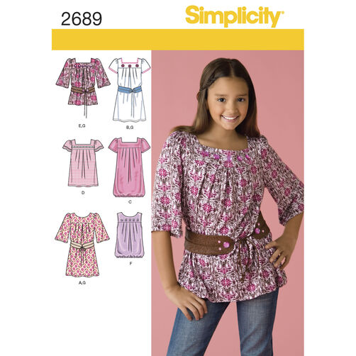 Simplicity Pattern 2689 Girls & Girls Plus Tops