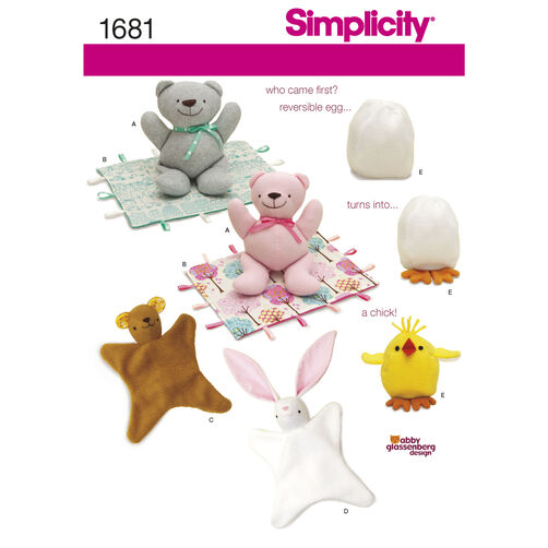 Simplicity Pattern 1681 Bear, Blanket, Animal Blanket, Chick Toy