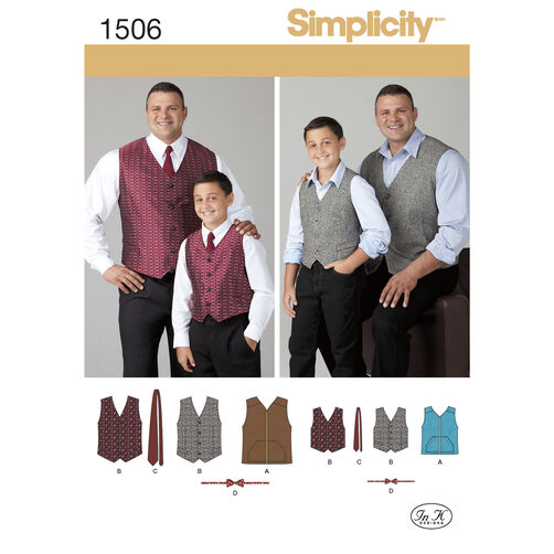 Simplicity Pattern 1506 Husky Boys' & Big & Tall Men's Vests