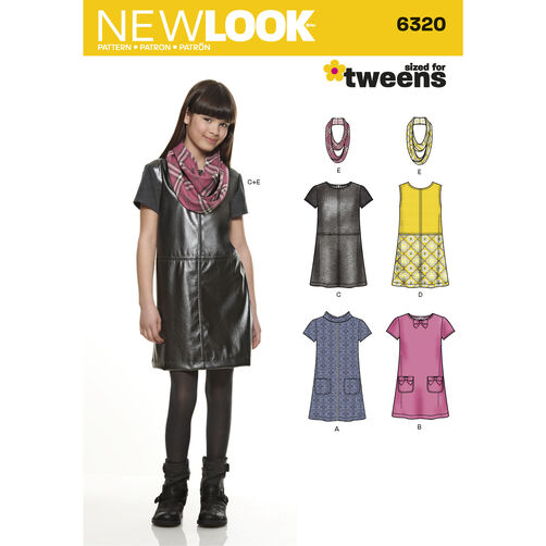 New Look Pattern 6320 Girl's Dress or Jumper and Scarf
