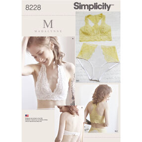 Simplicity Pattern 8228 Misses' Soft Cup Bras and Panties