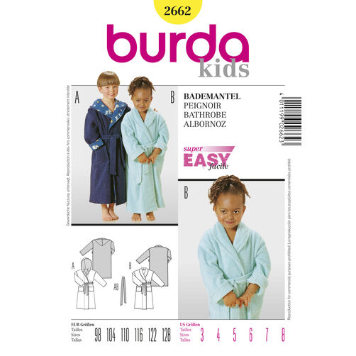 Burda Style Pattern 2662 Bathrobe