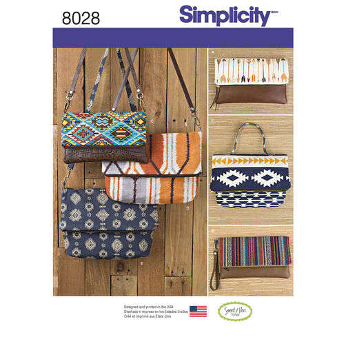 Simplicity Pattern 8028 Clutch, Wristlet and Purse in Two Sizes