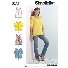 Simplicity Pattern 8337 Misses' Knit Tops with Bodice and Sleeve Variations